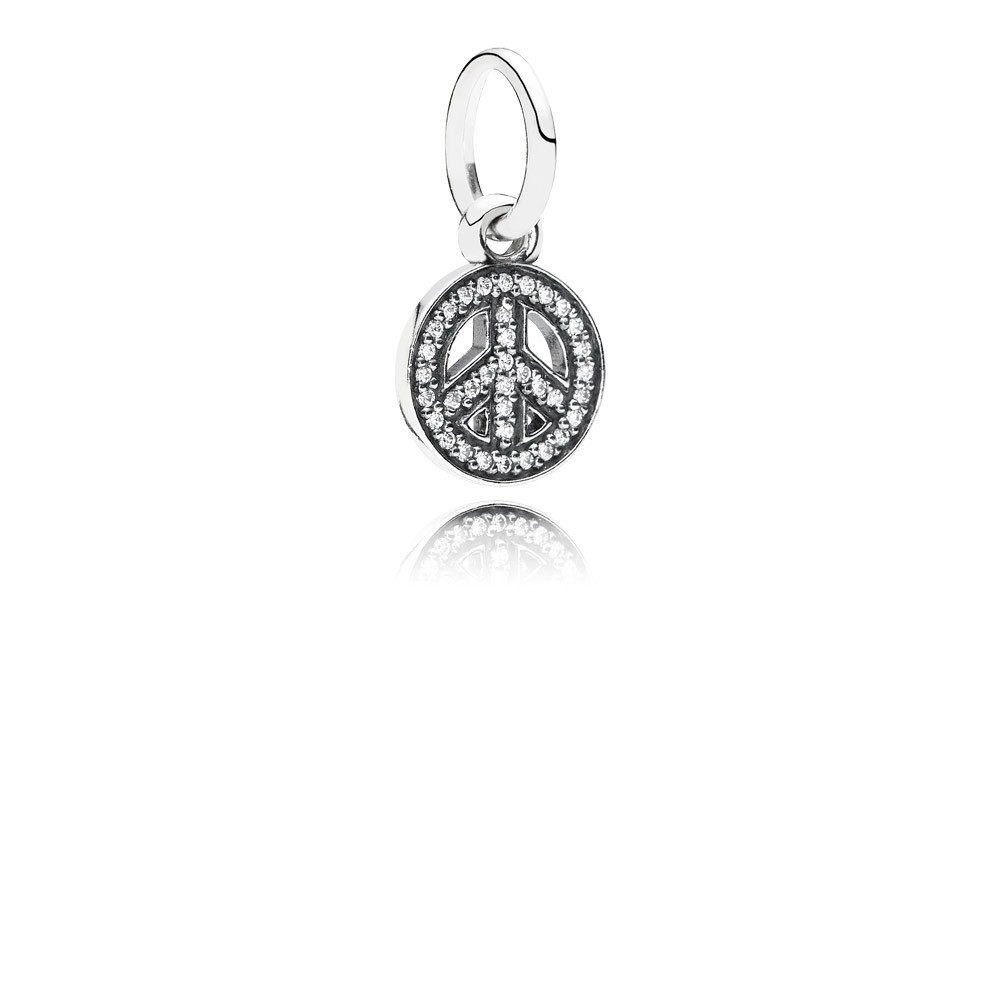 Peace Sign Silver Dangle With Cubic Zirconia