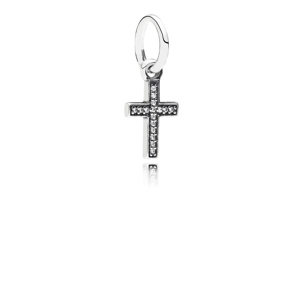 Cross Silver Dangle With Cubic Zirconia