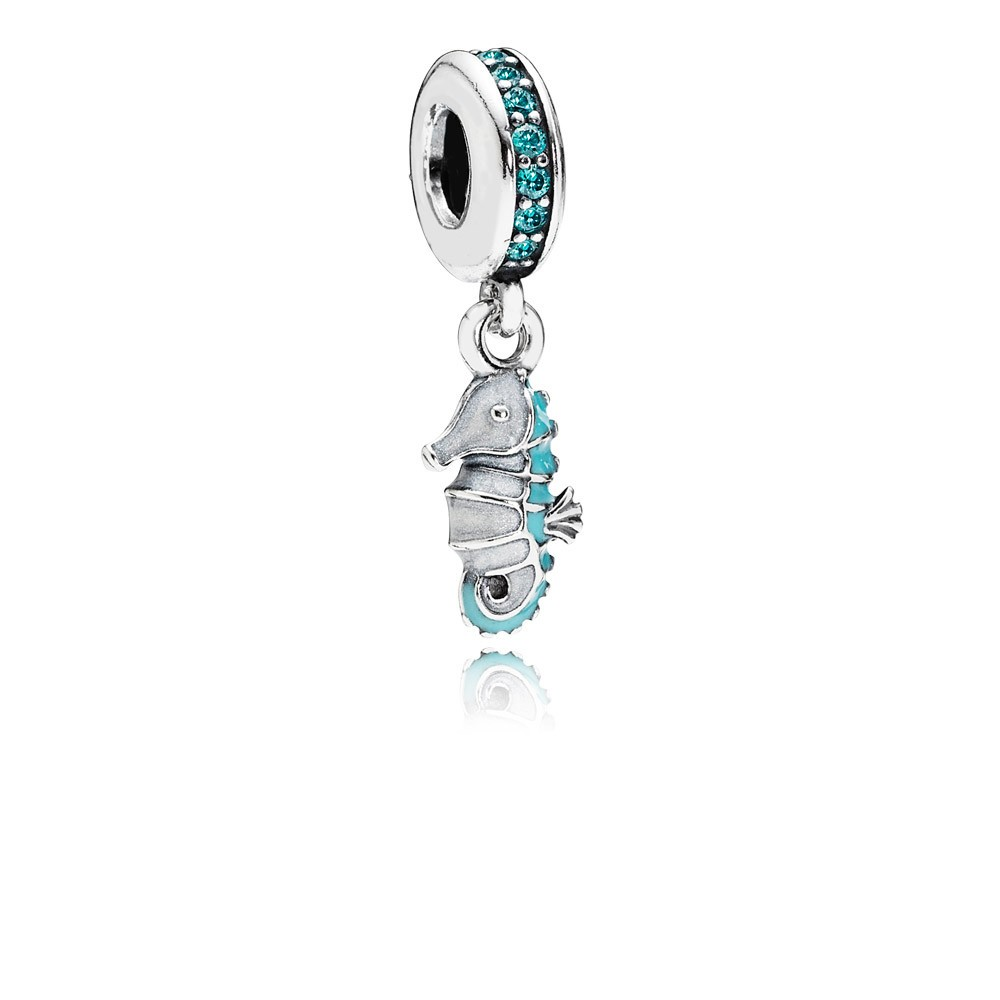 Seahorse Silver Dangle With Teal Cubic Zirconia, Silver And Turquoise Enamel