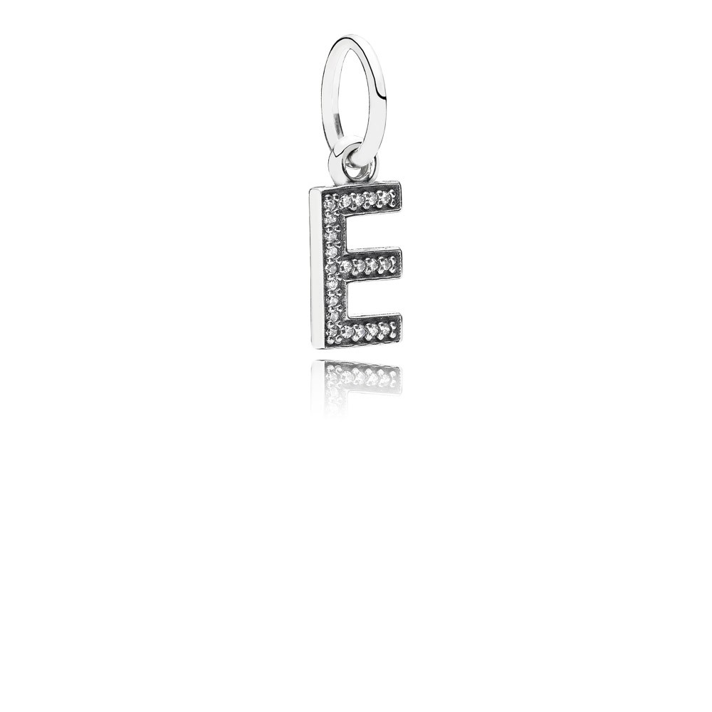 Letter E Silver Dangle With Cubic Zirconia