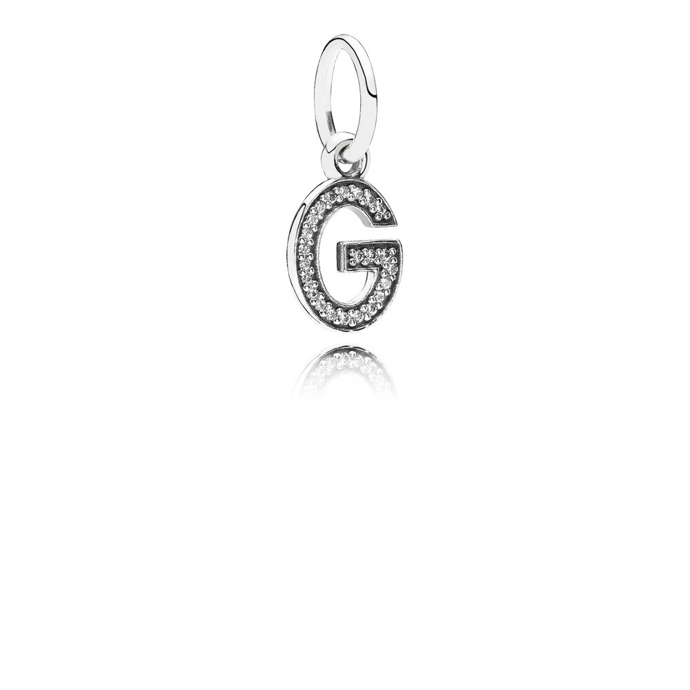 Letter G Silver Dangle With Cubic Zirconia
