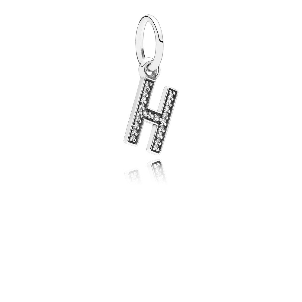 Letter H Silver Dangle With Cubic Zirconia