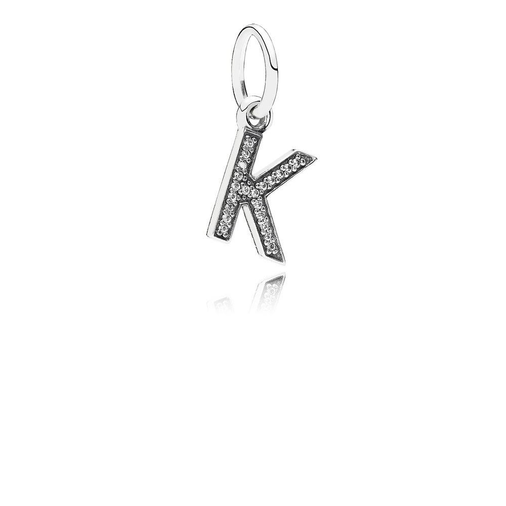 Letter K Silver Dangle With Cubic Zirconia