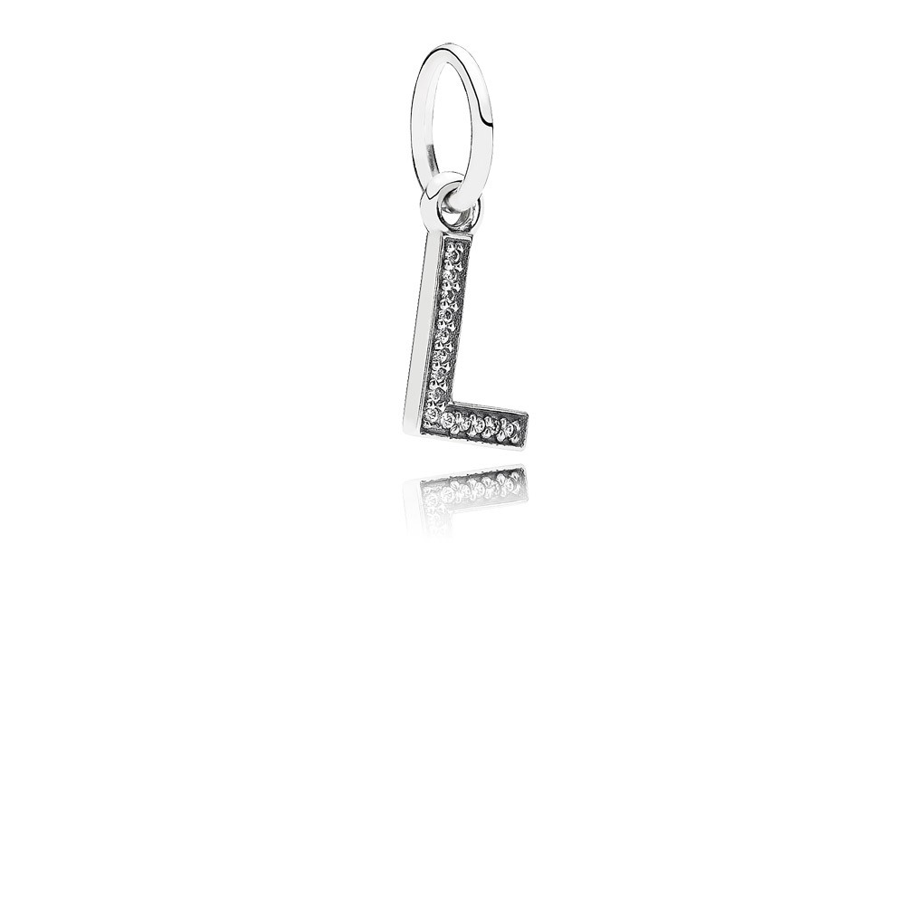 Letter L Silver Dangle With Cubic Zirconia