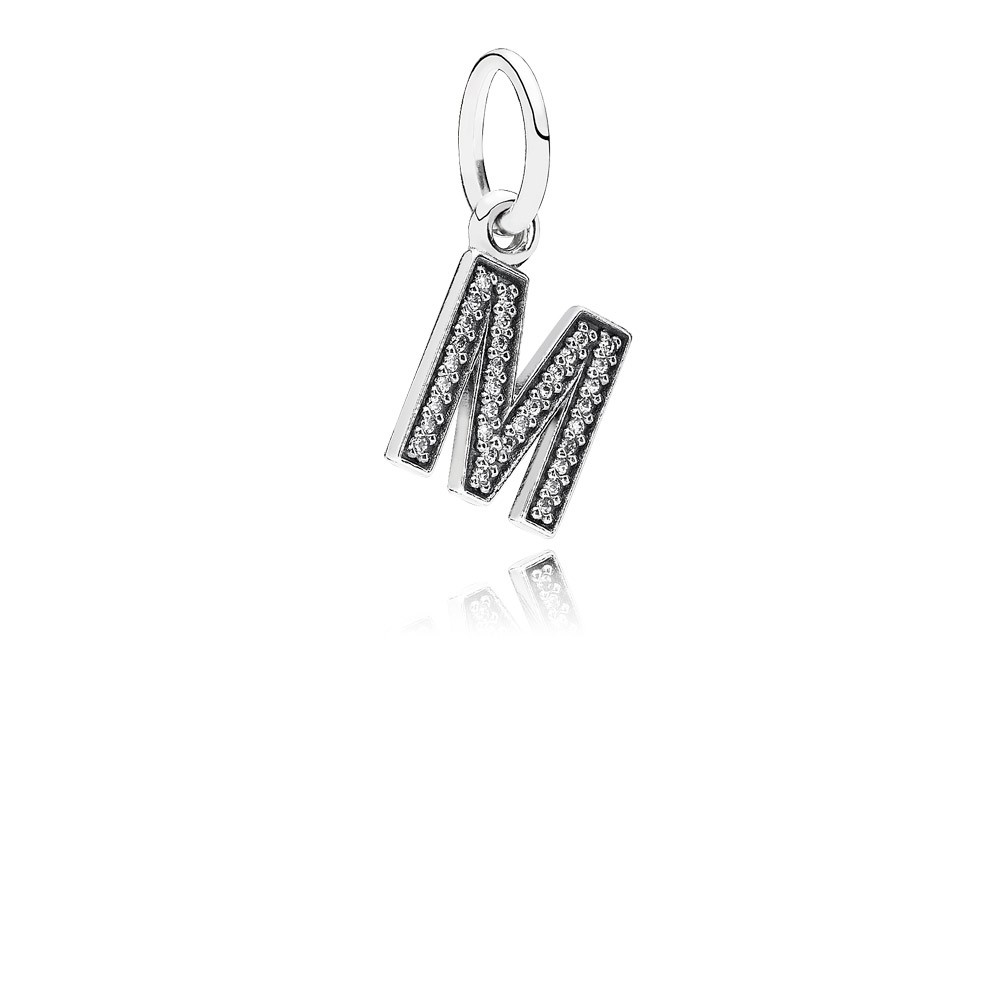 Letter M Silver Dangle With Cubic Zirconia