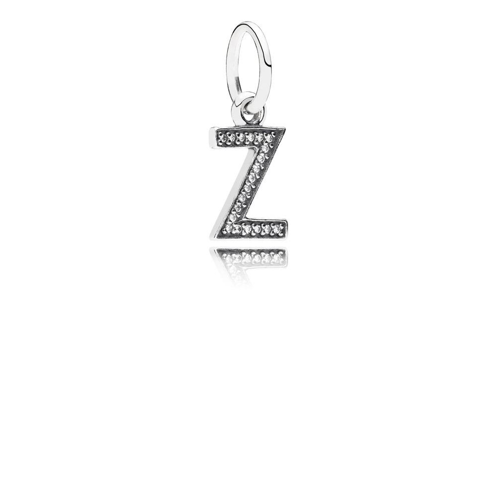 Letter Z Silver Dangle With Cubic Zirconia