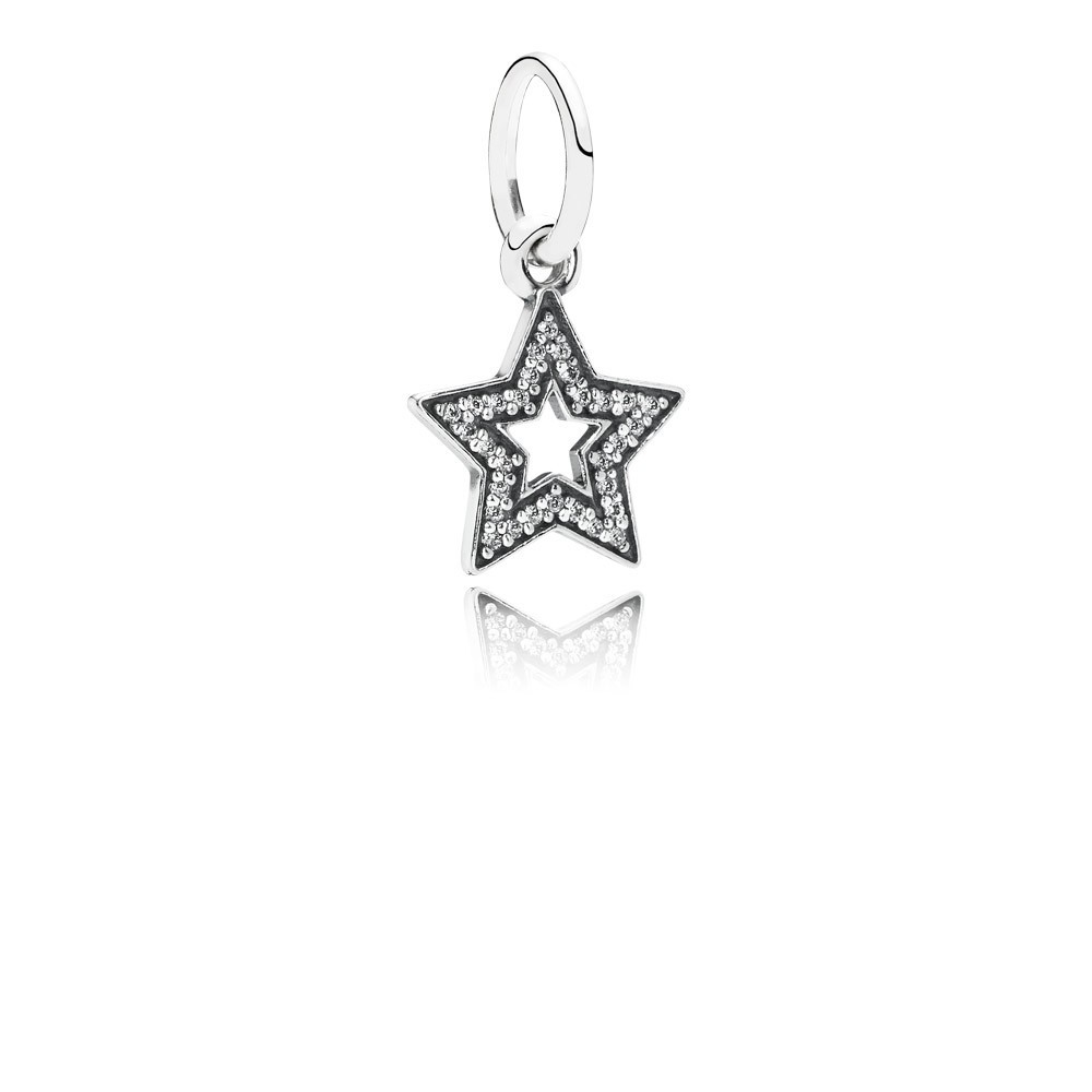 Star Silver Dangle With Cubic Zirconia