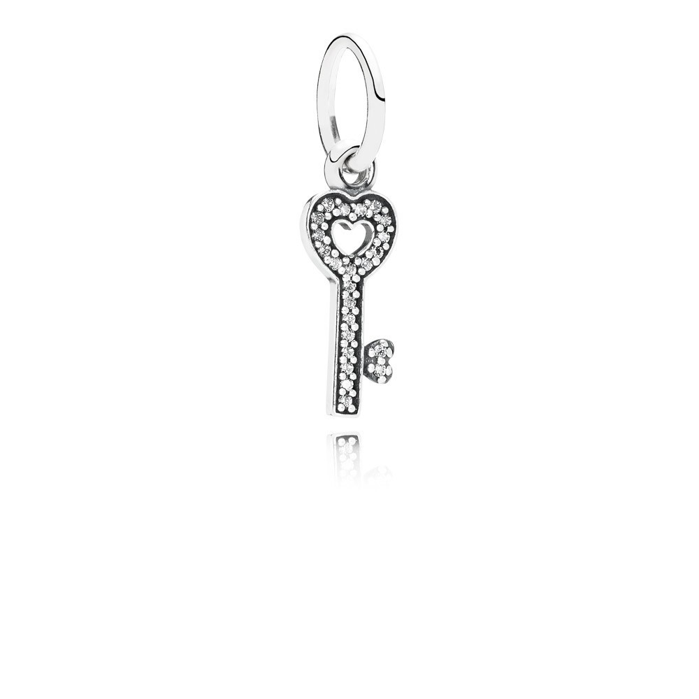 Key Silver Dangle With Cubic Zirconia