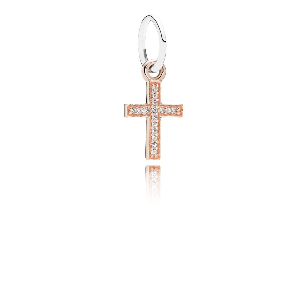 Cross Rose Gold Dangle With Silver And Cubic Zirconia