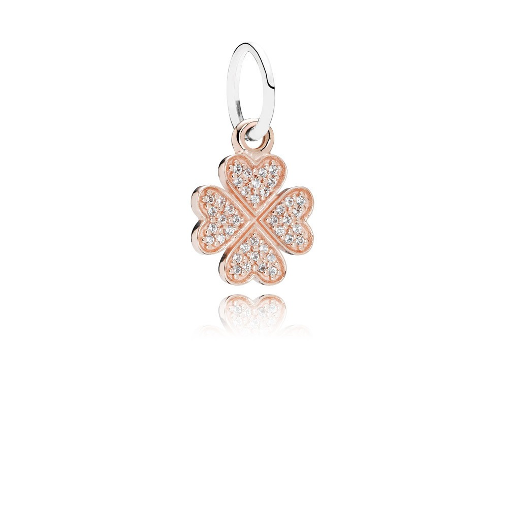 Clover Rose Gold Dangle With Silver And Cubic Zirconia