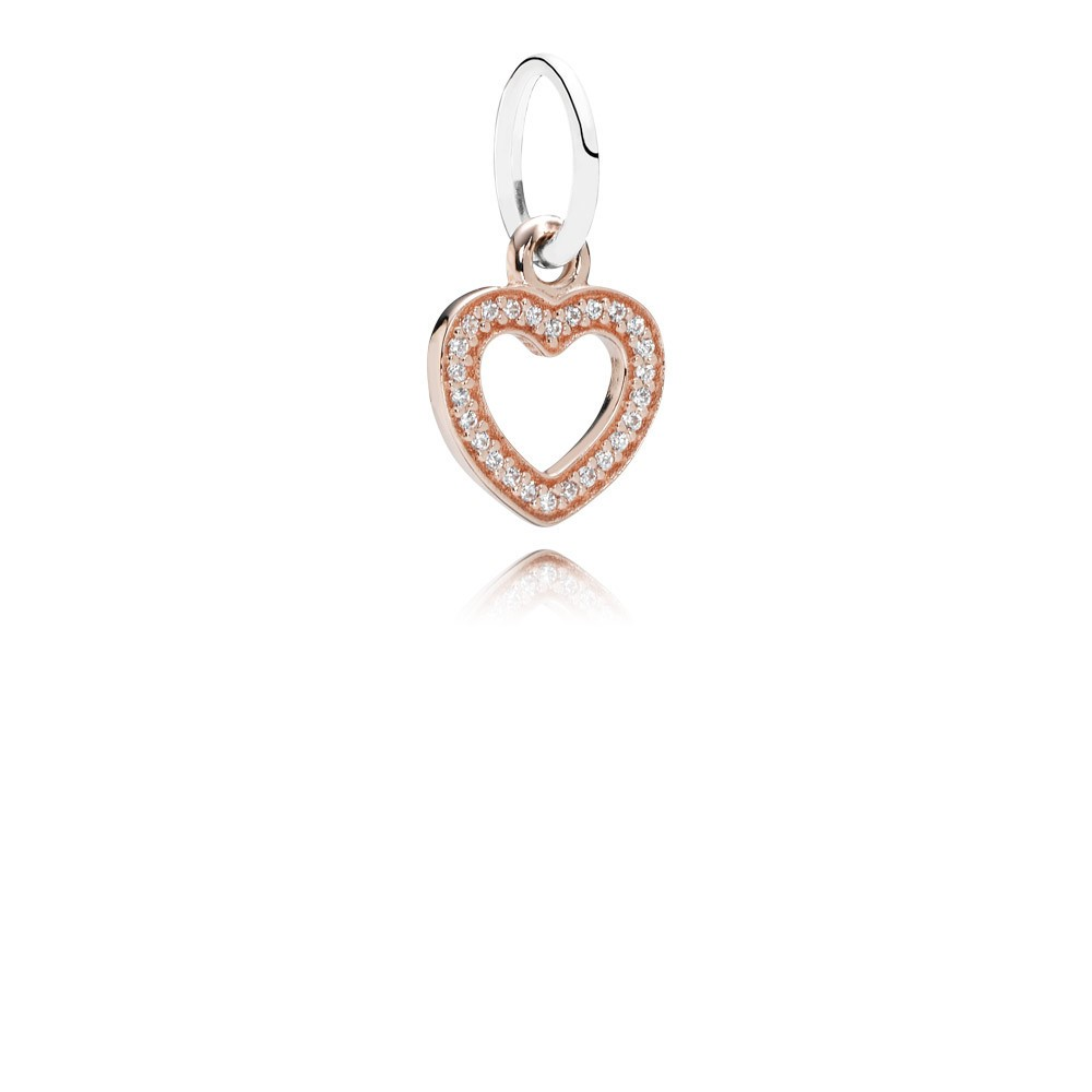 Heart Rose Gold Dangle With Silver And Cubic Zirconia