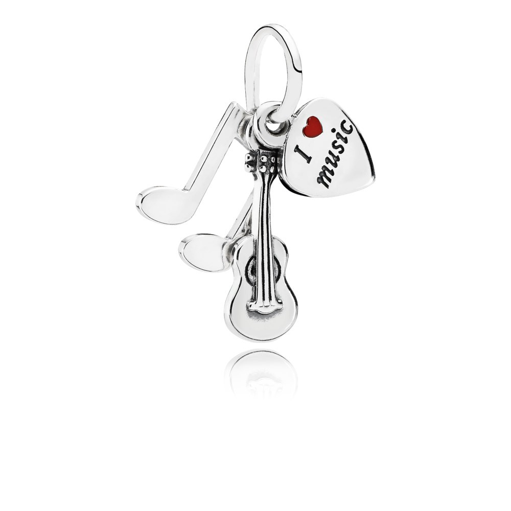 Music Trinity Silver Dangle With Red Enamel