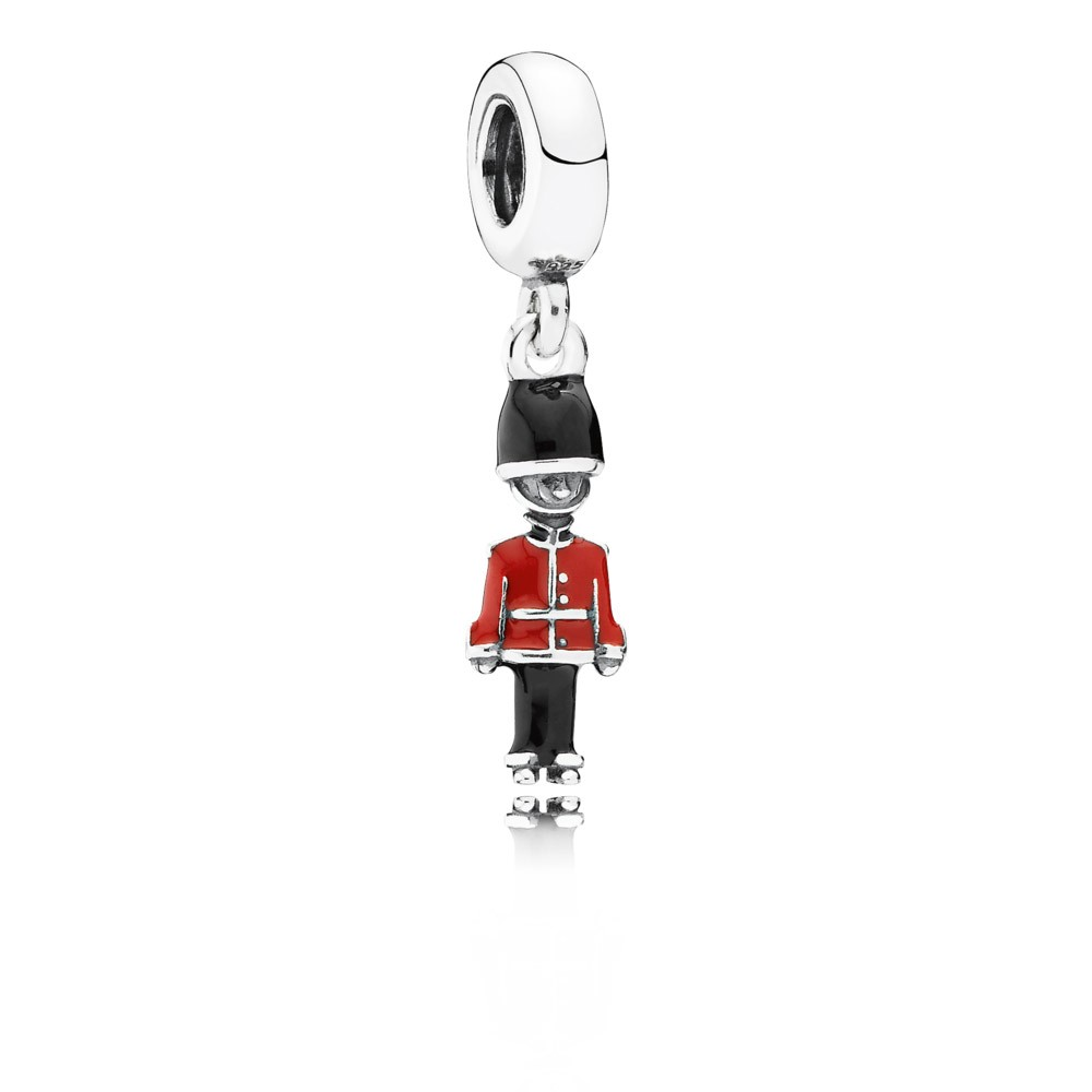 Toy Soldier Silver Dangle With Black And Red Enamel