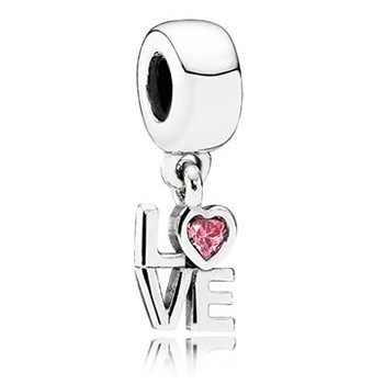 Pandora LOVE Dangle Charm with Pink CZ 791253CZS, 925 Sterling Silver