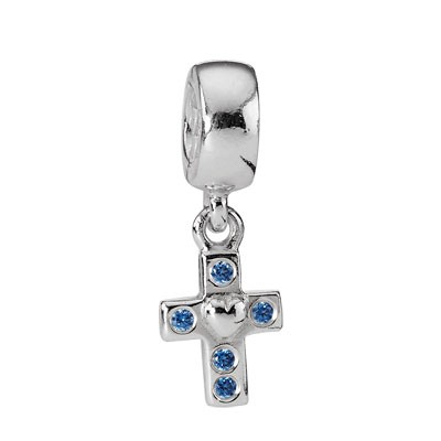 PANDORA Cross with Blue CZ Dangle