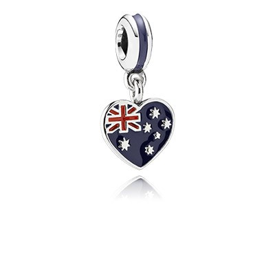 PANDORA Australian Heart Flag with Enamel Dangle