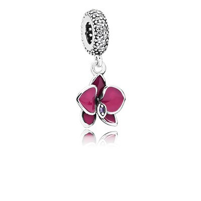 PANDORA Orchid with Clear CZ & Purple Enamel Dangle