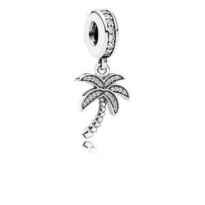 PANDORA Sparkling Palm Tree with Clear CZ Dangle