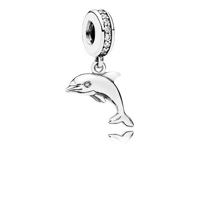 PANDORA Playful Dolphin with Clear CZ Dangle