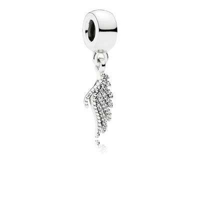 PANDORA Majestic Feather with Clear CZ Dangle