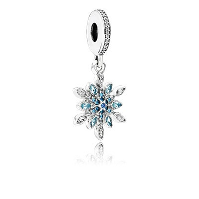 PANDORA Crystalized Snowflake With Blue Crystals & Clear CZ Dangle