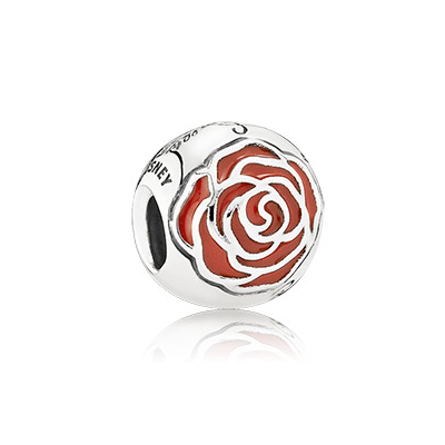Disney Belle Enchanted rose silver charm with red enamel