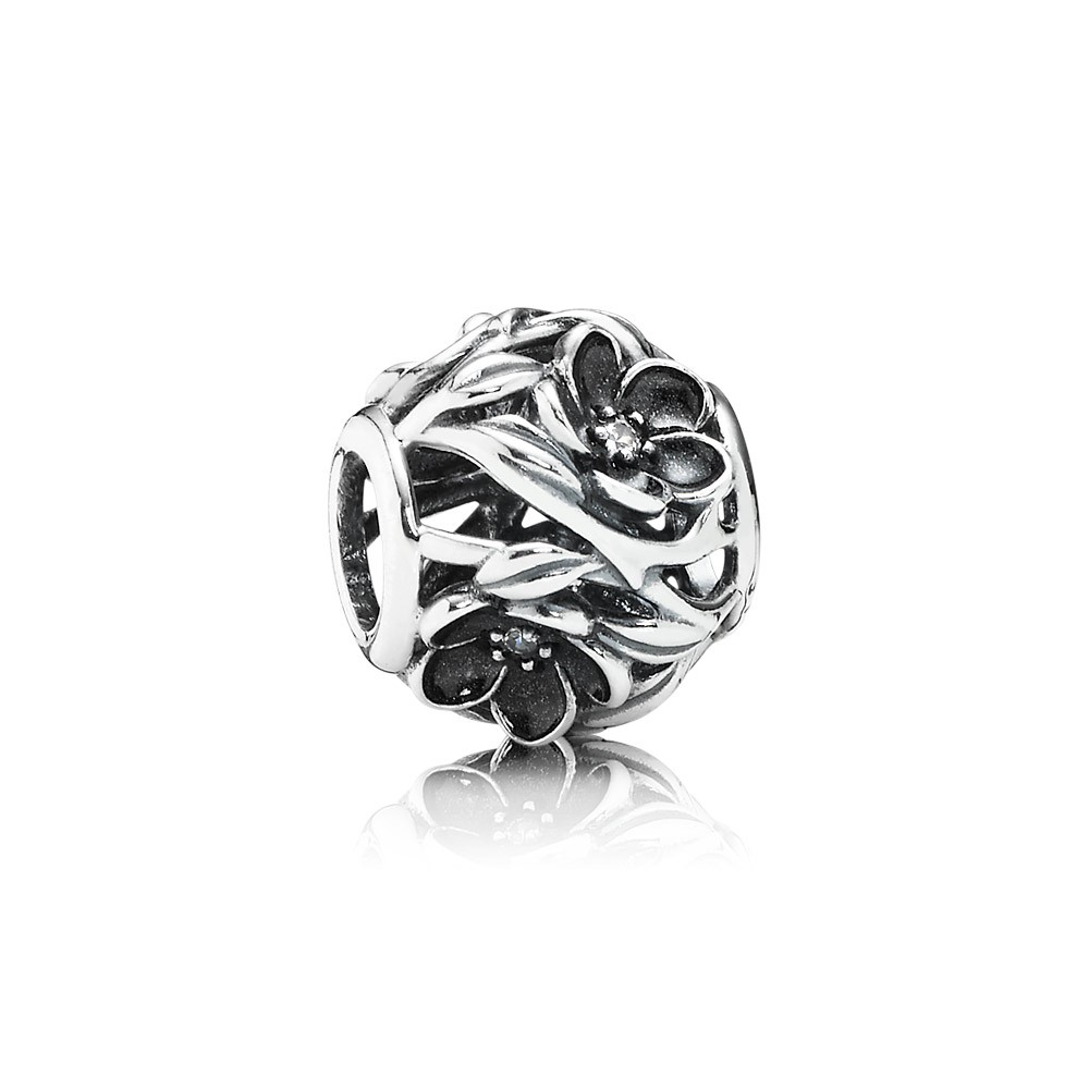Openwork Floral Silver Charm With Cubic Zirconia And Black Enamel