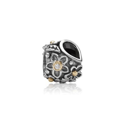 Pandora CLEAR CZ and Black Onyx Dew Drops Charm Silver