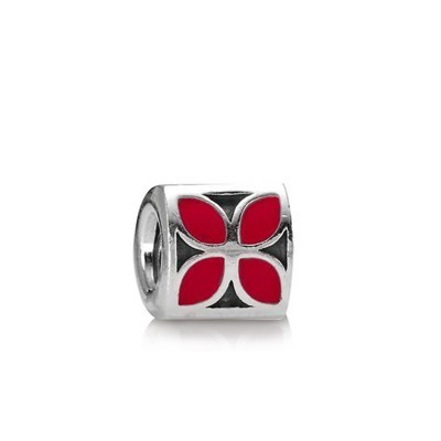 Pandora Enamel Charms 4-Petal Flower Red