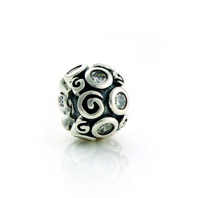 Pandora Flowers White Crystal Bead Charm