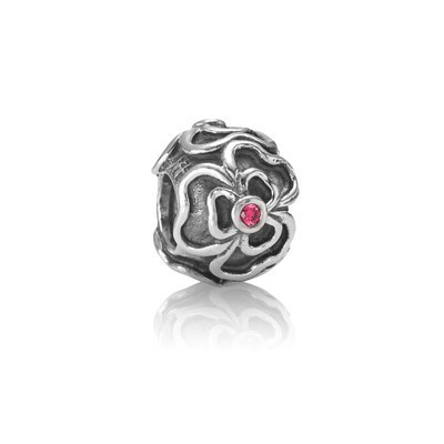 Pandora Red Flowers Gems Bead Charm