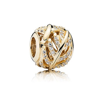 PANDORA Golden Light as a Feather with Clear CZ Charm