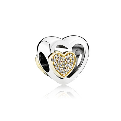 Heart silver charm with 14k hearts and clear cubic zirconia