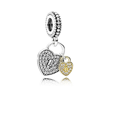 Heart padlock silver dangle with 14k and clear cubic zirconia