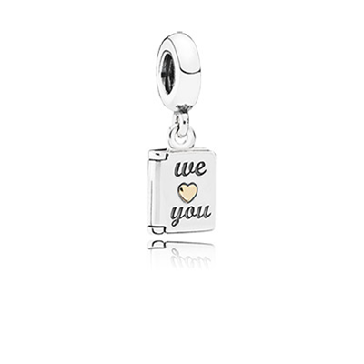 Mothers Day card silver dangle with 14k