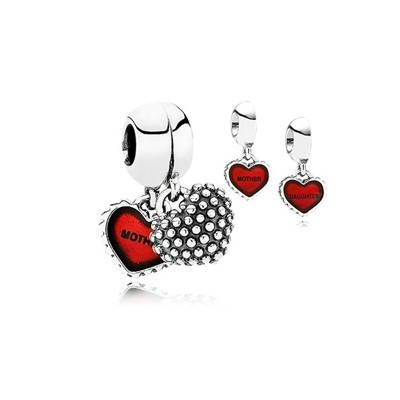 Pandora Gems and Silver Blood-Red Hearts Dangle Thread Charm