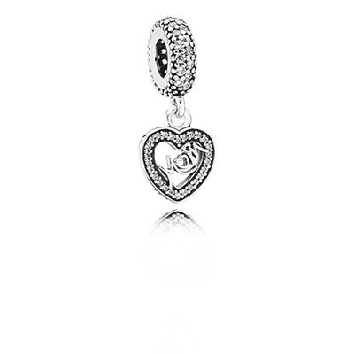 PANDORA Center of My Heart with Clear CZ Dangle