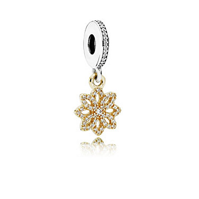 Floral dangle in 14k with silver and clear cubic zirconia