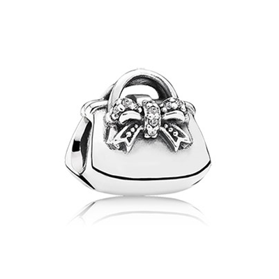 Handbag silver charm with cubic zirconia