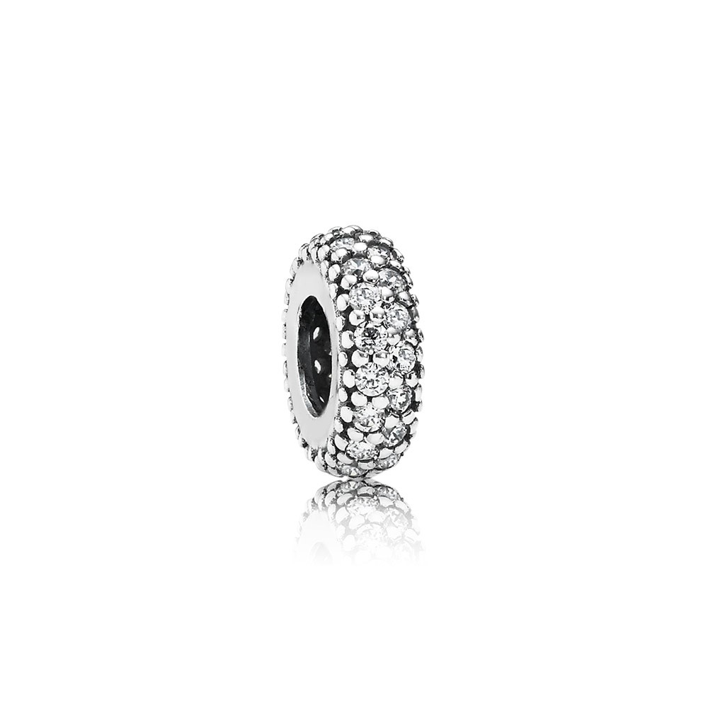 Abstract Silver Spacer With Cubic Zirconia