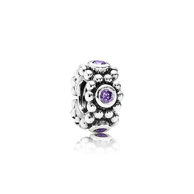 PANDORA Her Majesty with Purple CZ Spacer
