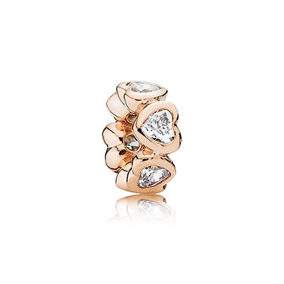 PANDORA Rose Space In My Heart with Clear CZ Spacer