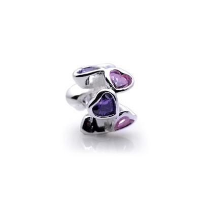 Pandora Pink Purple Heart Flowers Crystal Bead Charm