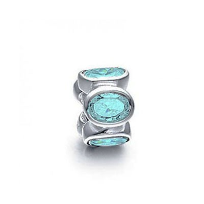 Pandora Water Blue Gems Shine Bead Thread Charm