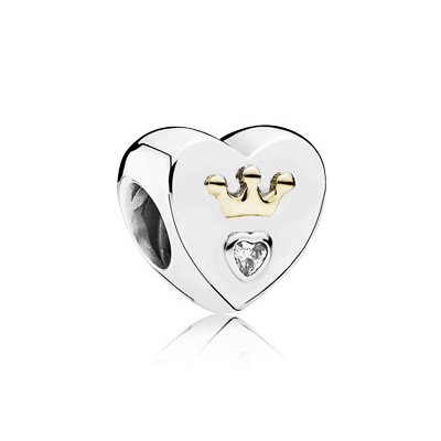 Heart silver charm with 14k crown and clear cubic zirconia