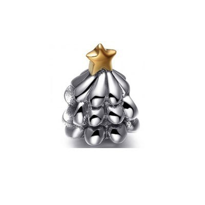 Pandora Christmas Tree Bead Charms Two-Tone