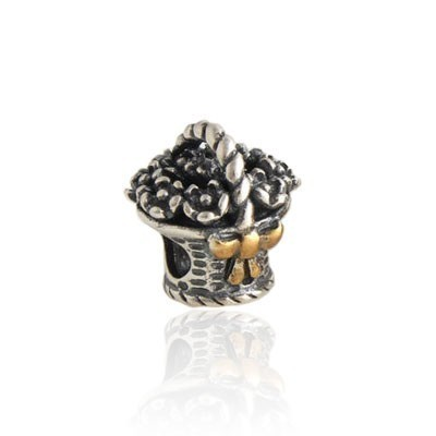 Pandora Refined Basket Of Flowers Two-Tone Charms