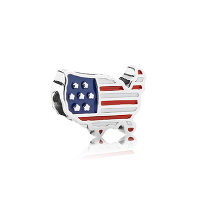 US outline silver charm with white, red and blue enamel