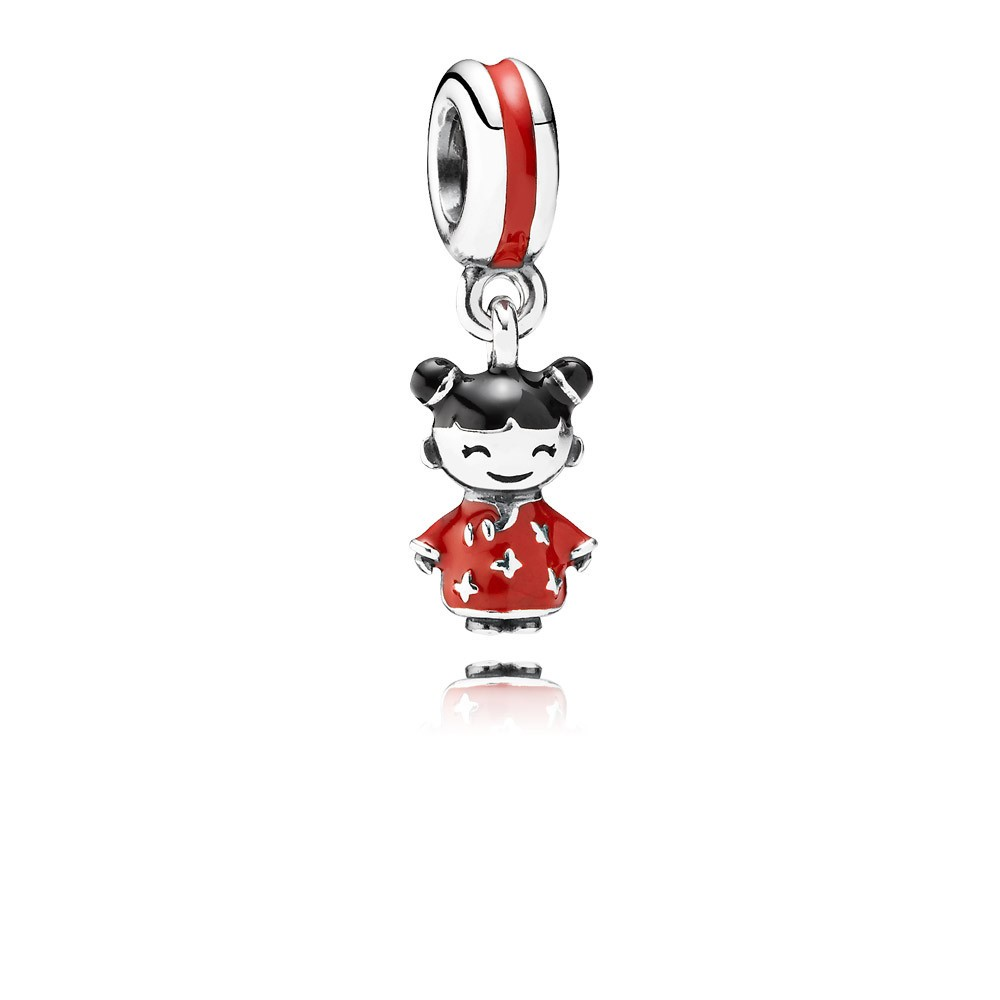 Chinese Doll Silver Dangle With Red And Black Enamel