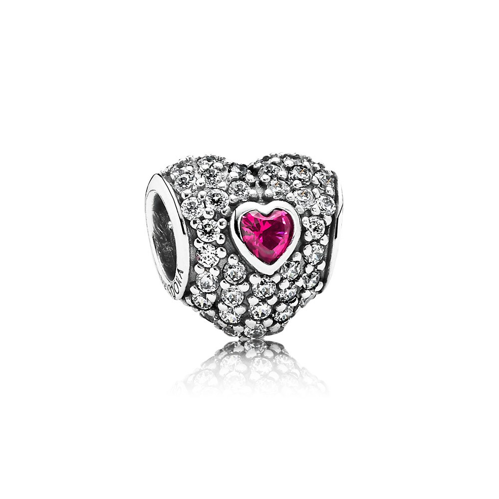 Pandora In my heart, clear cz & synthetic ruby Charm